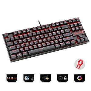 HLKYB Mechanische Gaming-Tastatur, kompakte 87 Tasten Mechanische RGB-LED-Tastatur mit Hintergrundbeleuchtung Mechanische Gaming-Tastatur mit Überlaufschutz und langlebigem Design