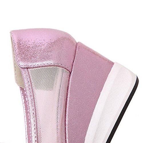 VogueZone009 Femme Pointu à Talon Correct Matière Souple Couleur Unie Tire Chaussures Légeres Rose