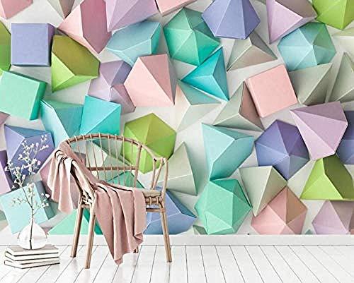 Carta da parati non tessuto murale Fotomurali Elegante minimalista stereo geometrico motivo Tv sullo sfondo3d camera da letto