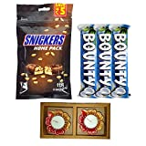 #5: Emazing Gourmet - Diwali Combo Pack - Pack of 4 Snicker Bars + Pack of 3 Bounty Bars + Free Dhoni Autograph Bat - with 2 Multicolor LED Diyas