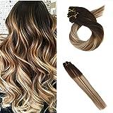 Moresoo 16 Pollice Balayage Hair Extension Capelli Veri Double Weft Tessitura Clip 100g/7pcs 100% Remy/Remi Estensioni dei Capelli Umani Medio Marrone/#4 to #6 Highlights with Biondo #24