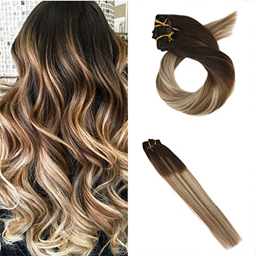 Moresoo 16 Zoll Ombre Hair Extensions Balayage Clip in Echthaar Mittel Braun/#4 zu #6 Highlights with Blonde #24 Clip in Extensions Echthaar Günstig Haarverlängerung Remy Echthaar 120g/7pcs