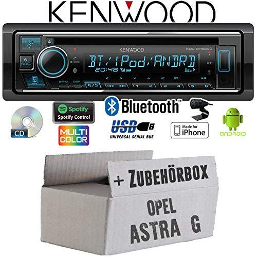 Autoradio Radio Kenwood KDC-BT530U - Bluetooth | Spotify | iPhone | Android | CD/MP3/USB - Einbauzubehör - Einbauset für Opel Astra G - JUST SOUND best choice for caraudio