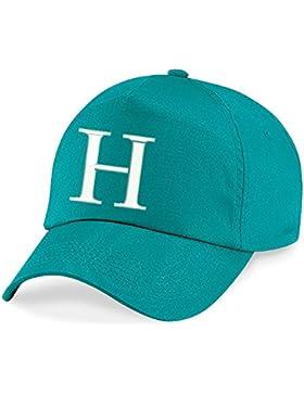 4sold Niños Escuela Bordado Gorra Niños Hat Alphabet A-Z Emerald Green