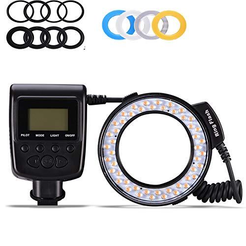 QYRL Makro LED Ring Blitzlicht Mit 8 Adapter Ring Für Nikon Canon Sony Pentax Olympus Panasonic Kamera DSLR Ringblitz Kit