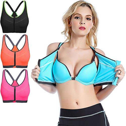 JFIN Femmes Forme De U Sports Bra Mèches Microfibre Active Front Zipper Bleu Indy Pro Orange