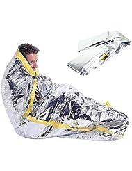 LIUSIYU Saco de Dormir de Emergencia, película de Aluminio PE, Peso Ligero Impermeable Bivvy