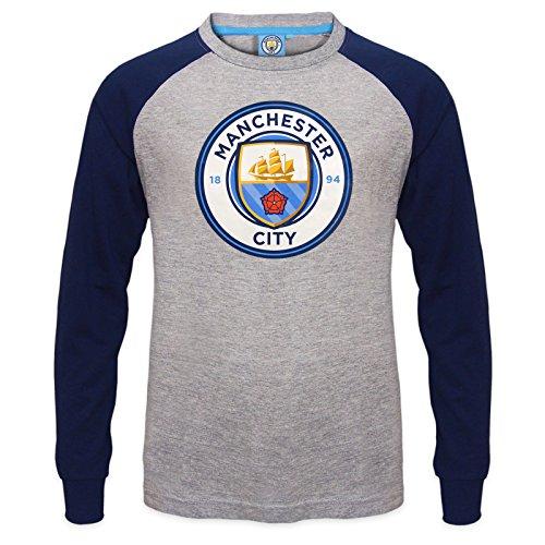 Manchester City FC - Camiseta oficial con mangas raglán - Para niños - Con el escudo del club - Gris - 10-11 años