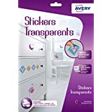 Avery 6 Stickers Transparents - A4  - Impression Jet d'encre - (C9421)