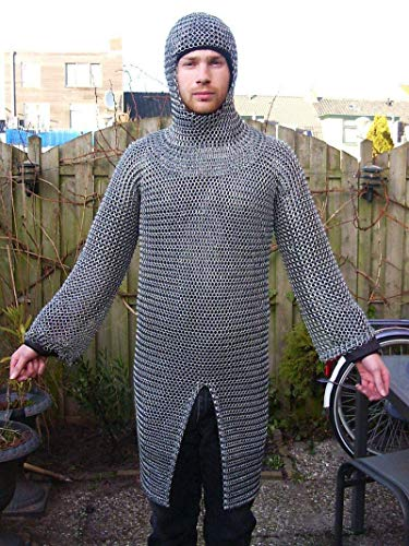 NASIR ALI Zinc Plated, Long Medieval Butted Mild Steel Chainmail Shirt Full Sleeves