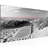 Bilder Strand Meer Wandbild 100 x 40 cm Vlies - Leinwand Bild XXL Format Wandbilder Wohnzimmer Wohnung Deko Kunstdrucke Rosa Grau 1 Teilig -100% MADE IN GERMANY - Fertig zum Aufhängen 604012c