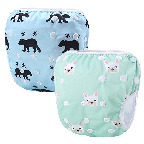 Storeofbaby Couches en tissu réutilisables de bébé couches de natation réglables 0-3 ans Pack de 2