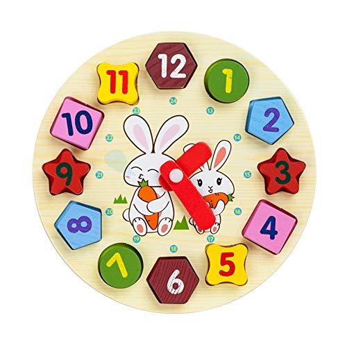 Sungpunet Holz Uhr Spielzeug Stabile Holz BAU Form Farbe Sorting Uhr Lehrzeit Number Blocks Puzzle Stacking Spielzeug für Kinder Style-Radish 1Set