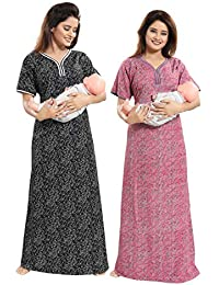 TUCUTE Women Beautiful Print Poly-Cotton Invisible Zip Pattern Feeding/Maternity/Nursing Nighty/Night Gown/Nightwear (Free Size) (Pack of 2 Pcs) Smart Combo