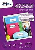 Etichette per libri e quaderni, bianche, rimovibili, Laser o scrivibili a mano, 63,5x29,6mm - 5 ff