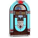 50er Jahre Retro Jukebox mit LED Nostalgie Beleuchtung und Plattenspieler (USB SD CD AUX Eingang, UKW/MW-Radio 40 Senderspeicher) Marquant