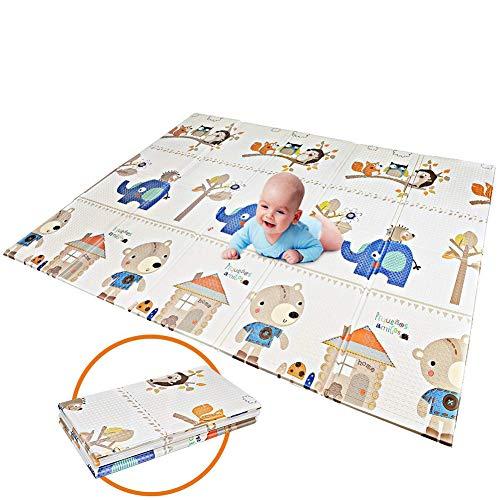 Huayao Bébé Brillant Baby Play Mat, 0-6 Ans Vieux bébé Pliable Mat imperméable à l'eau et Tapis antidérapant,200 * 180 * 1cm