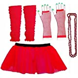 Four Peice Adult Womens 8-14 Tutu Set Neon Red Tutu Legwarmers Fishnet Gloves Beads 80s Fancy Dress Costume (RB Fashions Clothing)