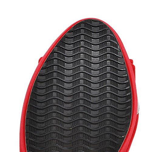 Voguezone009 Absatz Schnalle Rund Schuhe Pumps Damen materialien Rot Zehe Blend Hoher 661xqAOa