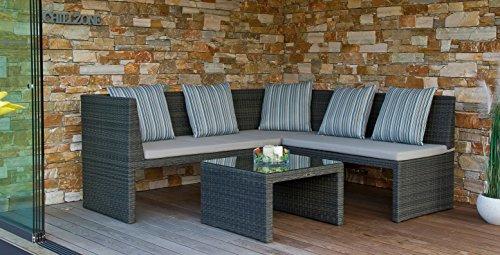Chillzone Eckbank Rattan Bank Lounge Sarami mit Tisch