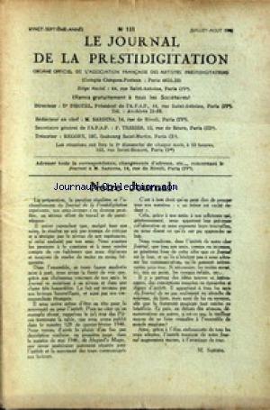 JOURNAL DE LA PRESTIDIGITATION [No 131] du 01/07/1946 - NOTRE JOURNAL PAR M. SARDINA.