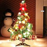 outgeek Künstlicher Weihnachtsbaum, Tannenbaum Christbaum 60cm(24'') grün Weihnachtsbaum klein mit Beleuchtung Multicolor LED und Weihnachtsschmuck (60 cm mit LED und Ornaments)