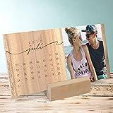 Foto Kalender gestalten, Jahresringe Tischkalender, Aufstellkalender 260x120 mm mit edlem Holzfuß, Fotokalender 2017