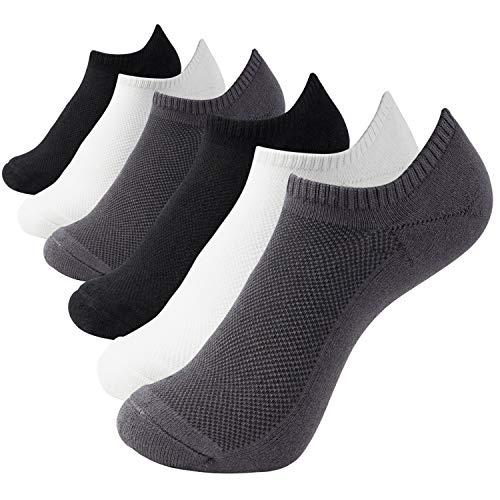 +MD 6 Paar Bambus Sneaker Socken Damen und Herren Sportsocken Ideal für Sport, Freizeit und Business 2BLK/2WHT/2GRY L(43-46EU/10-13US)