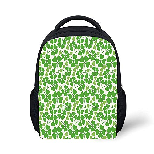 Kids School Backpack Irish,Gaelic Nature Garden Decor Spring Clovers with Cute Hearts Freshness Decorative,Lime Green Pistachio White Plain Bookbag Travel Daypack (Spring-sport Irish)