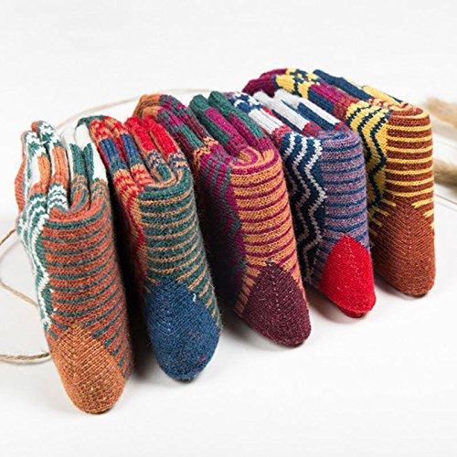 Superior-ZRL 5 Paar Vintage-Stil Arbeits Winter warme Wolle stricken Crew Socken Frauen