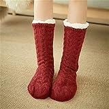 LILONGXI Warme Socken,Frau Winter Weihnachten Socken rutschfeste Boden Verdickung Warme Socken, Mädchen Plus Rot Muster Drucken Baumwolle Socken, Hausschuhe Freizeit Socken(3pcs)