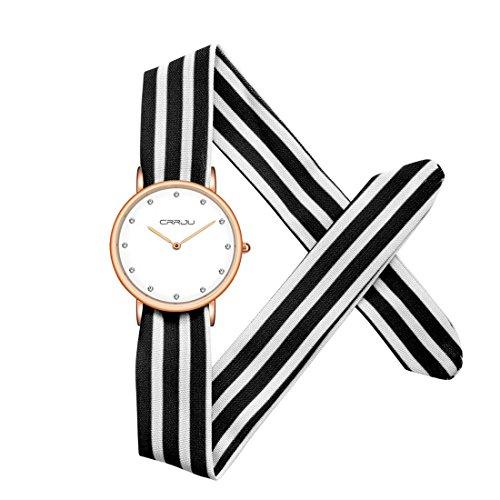 Souarts Damen Armbanduhr Streifen Form Schleife Schal Band Deko Uhr mit Batterie Schwarz