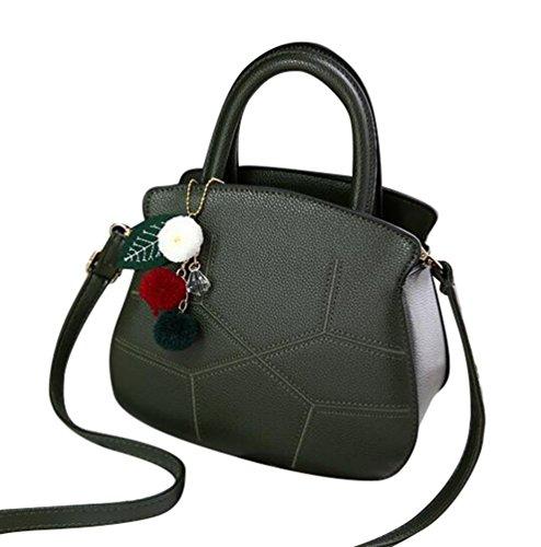 Baymate Schöne Frauen PU-Leder Schultertasche Handtasche mit Anhänger Grün