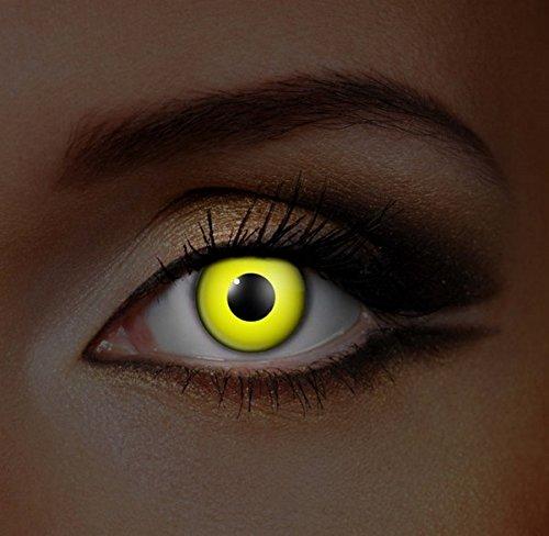 Funky Vision Kontaktlinsen I-Glow - 3 Monatslinsen, Yellow UV, Ohne Sehstärke, 1 (Kontaktlinsen Rezept)
