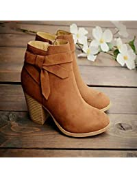 Tingxx Spring and Autumn Suede High Heels Ladies Wild Ankle Boots Three Colors Can Choose Brown_39