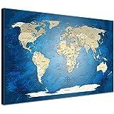 """LanaKK - Weltkarte Leinwandbild mit Korkrückwand zum pinnen der Reiseziele – """"Worldmap Blue Ocean """" - englisch - Kunstdruck-Pinnwand in blau, einteilig & fertig gerahmt in 120 x 80 cm"""