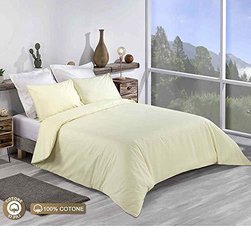 Tim's Textile Bettwäsche-Set, 100% Baumwolle, einfarbig, für Doppelbett, King-Size, Super-King-Size, 100% Baumwolle, Helles Zitronengelb, Doppelbett (King Bettbezug Helle)