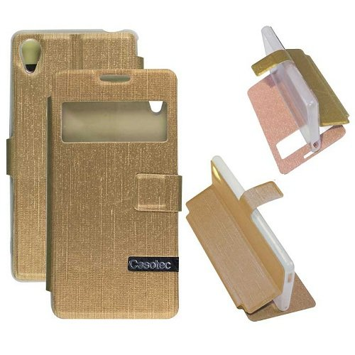 Casotec Premium Kickstand Caller-id Flip Cover with All-around TPU Inner Case and Snap Button Closure for Sony Xperia M4 Aqua - Golden  available at amazon for Rs.175