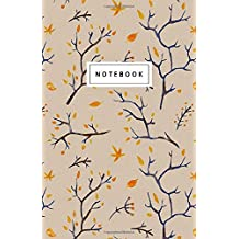 """Notebook: Halloween and fall leaves Design: 5.5"""" x 8.5"""" lined pages. Great for note-taking/Composition/Writing/Planning/Diary/Gift"""