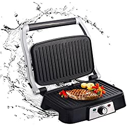 Aigostar Hitte 30HFA - Appareil à croque monsieur, grill multifonction, presse à paninis, appareil à sandwichs. 1500W, plaques anti-adhésives, ouverture à 180º. Couleur argent.