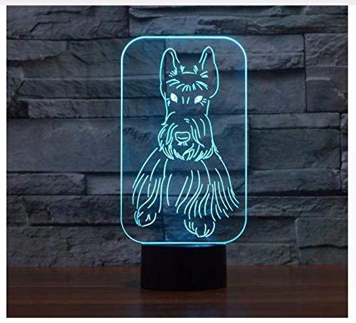 3D Led Kreative Visuelle Nachtlicht Neuheit Scottish Terrier Hund Modellierung 7 Farbe Hund Leuchten Schlaf Dekor Schreibtischlampe Licht Box Kindertagsgeschenke -