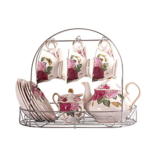 ufengke - Européen Papillon Fleur Imprimé Céramique Service À Tasse À Thé Avec Couvercle Et Soucoupe