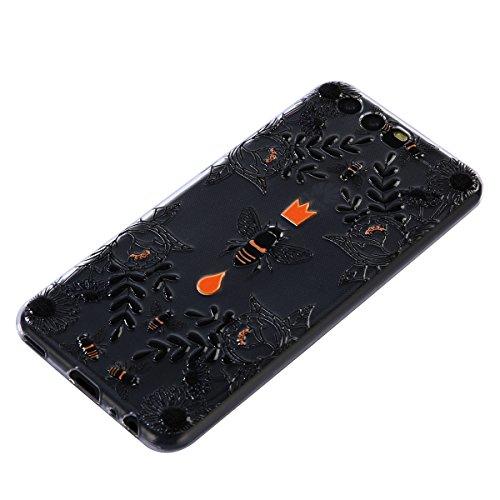 Coque pour Huawei P10, Étui Huawei P10, Surakey Etui Housse Mince Silicone Transparent pour Huawei P10 Coque de Protection en TPU avec Absorption de Choc Bumper et Anti-Scratch avec dessin animé Motif Etui de Protection Cas en caoutchouc en Ultra Mince Premium Semi Hybrid Crystal Clear Flex Soft Skin Extra Slim Téléphone Couverture TPU Case Coque Housse Étui pour Huawei P10 (Fleurs noires Bee)