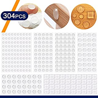 Coardor Clear Bumper Pads for Door 304 in 1 kit Rubber Feet Adhesive Self Stick Buffer Pads Kitchen Cabinet Door Bumper Catch Protector Soft Close Stop Dots Feet Sound Dampening 6 Sizes