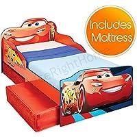 Preisvergleich für Pricerighthome Disney Cars Lightning McQueen Kleinkind Bett mit Aufbewahrung Plus Fully Sprung Matratze