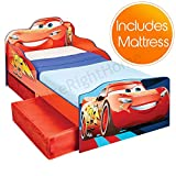 Price Right Home Disney Cars Lightning McQueen Toddler Bed with Storage plus Foam Mattress