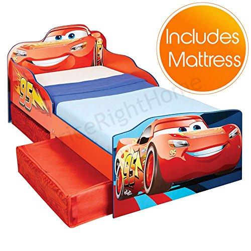 Pricerighthome Disney Cars Lightning McQueen Kleinkind Bett mit Aufbewahrung Plus Fully Sprung Matratze