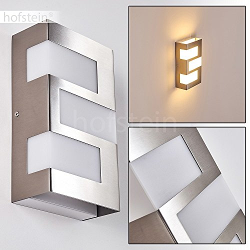 LED Außenwandleuchte Lannion aus Metall in Chrom – LED Außenlampe für Hof – Terrasse – Garten – Veranda - mit Lichteffekten an der Wand