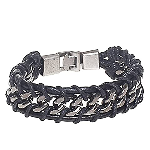 ofoen Bangle Rope Bracelet, Alloy PU Leather Vintage Men Bracelet Cuff Braided Rock Punk Biker Strand Clasp Black
