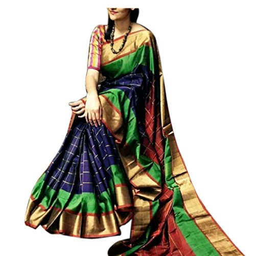 Fashion Flowerz Women's Silk Saree With Blouse Piece(Flofash-6_Multicolor_Free Size)
